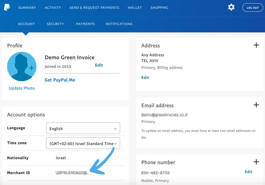 קוד החשבון בשדה merchant id בחשבון הפייפאל