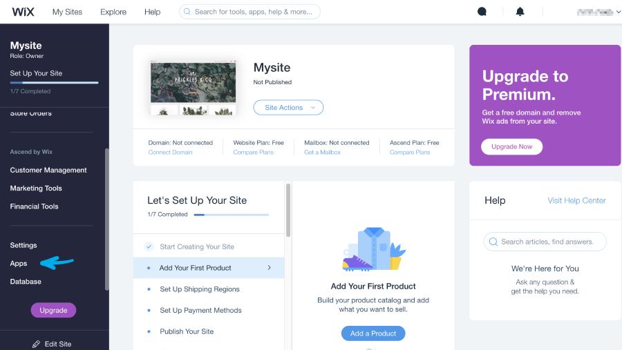 תפריט app בעמוד app market>my sites בחשבון הwix