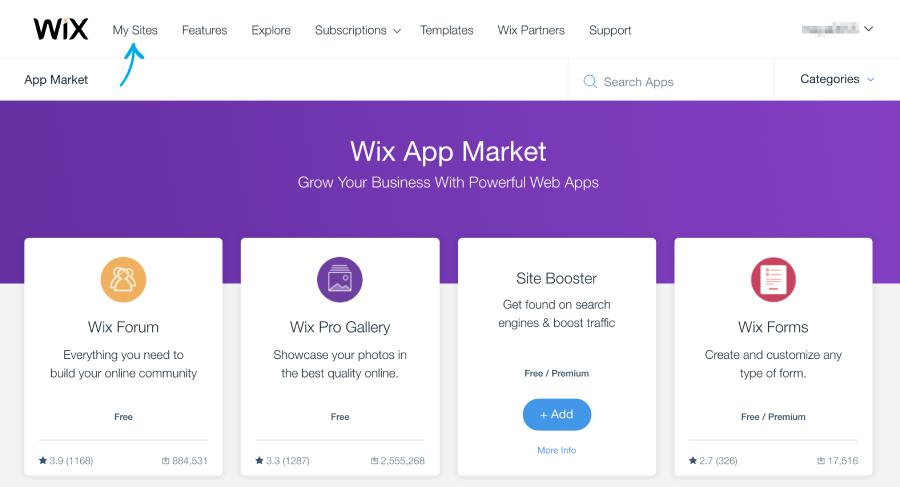 תפריט my sites בתוך ה-App Market בחשבון ה-WIX