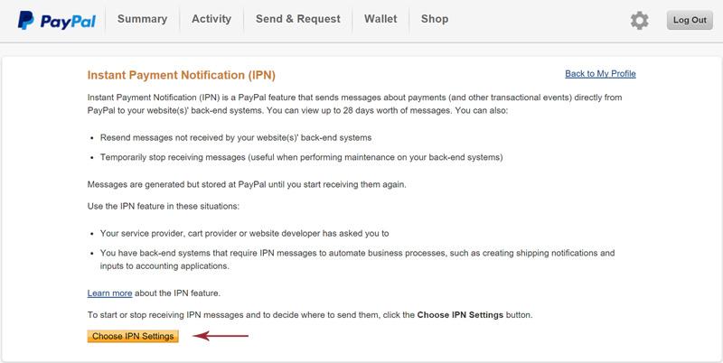 כפתור choose IPN settings בממשק של פייפאל