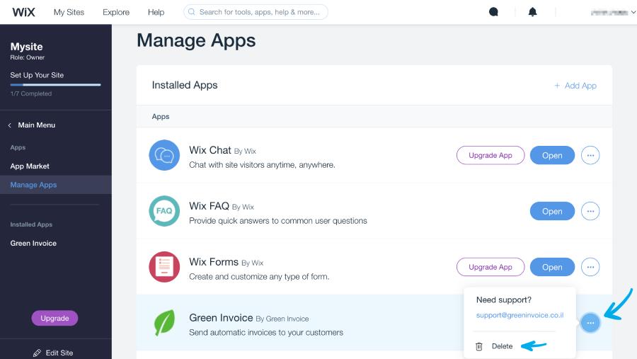 כפתור הסרת האפליקציה של חשבונית ירוקה מעמוד manage apps בwix