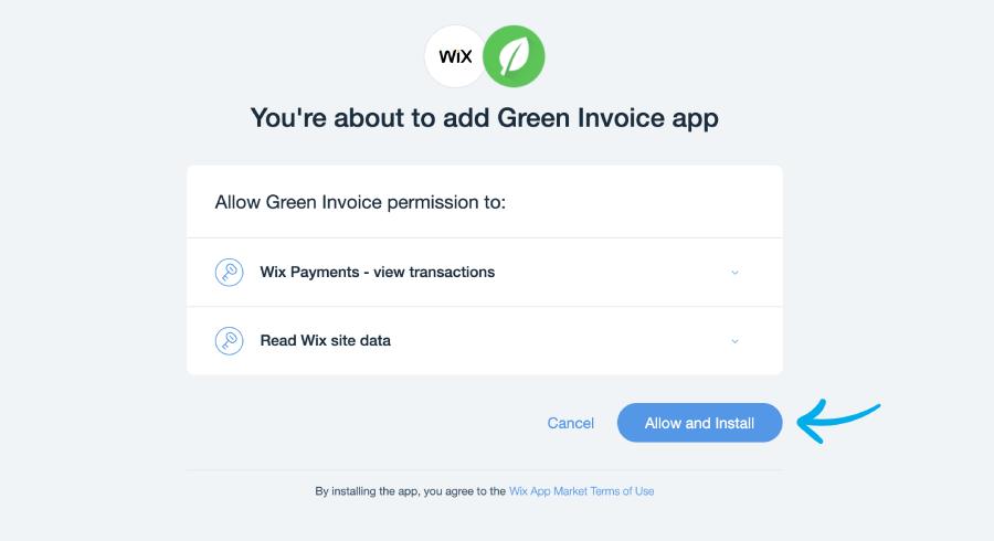 כפתור allow and install באפליקציה של חשבונית ירוקה בwix