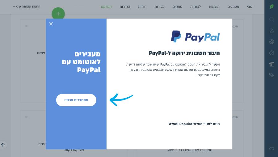 כפתור מתחברים עכשיו של paypal