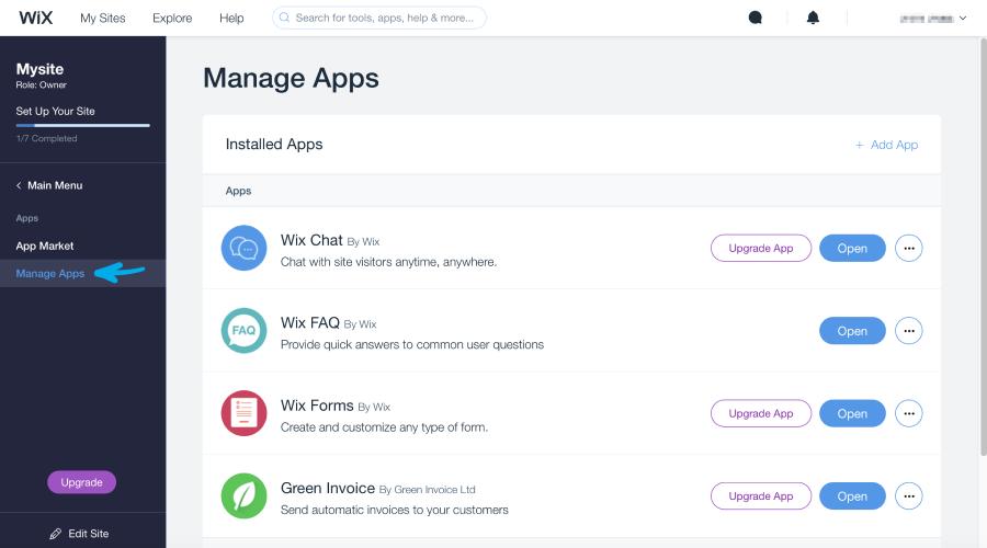 עמוד Manage Apps בwix
